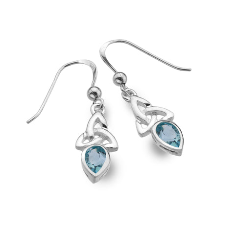 Celtic Lands Sterling Silver Blue Topaz Earrings, March Birthstone - Violetmai Jewellery and Gifts