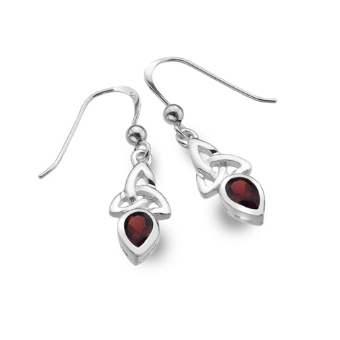 Celtic Lands Sterling Silver Garnet Earrings, January - Violetmai Jewellery and Gifts
