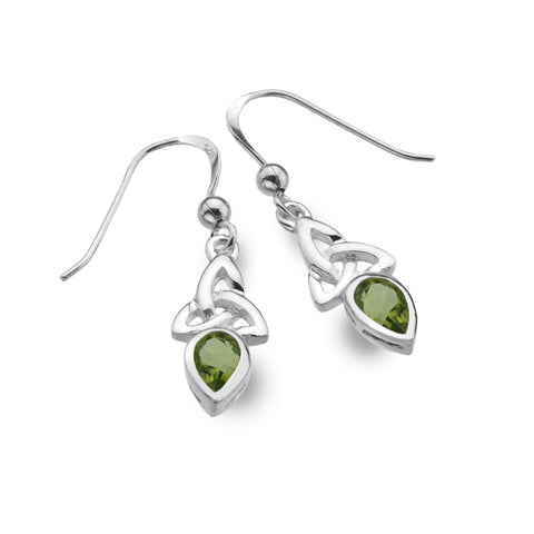 Celtic Lands Sterling Silver Peridot Earrings, August - Violetmai Jewellery and Gifts