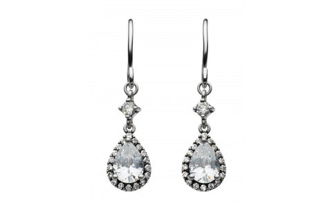 Dew  Sterling Silver Cluster Oxi Teardrop Cubic Zirconia Earrings - Violetmai Jewellery and Gifts