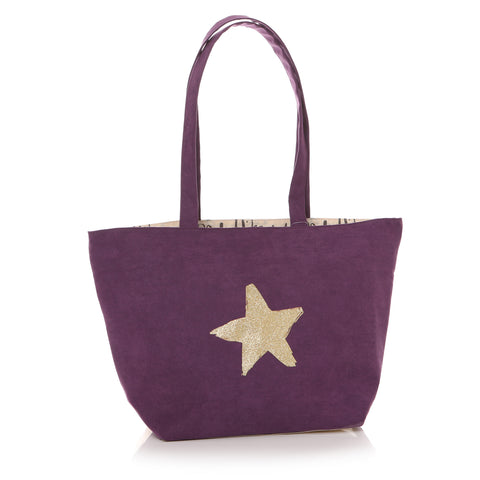 Ta Da Star Tote  in Purple  by Shruti