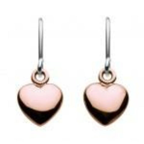 Dew Sterling Silver Rose Gold Puff Heart Drop Earrings - Violetmai Jewellery and Gifts