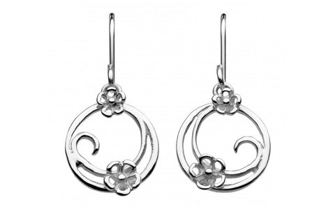 Dew Sterling Silver Round Swirl Blossom Earrings - Violetmai Jewellery and Gifts