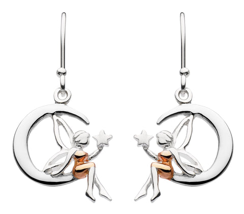 Dew  Sterling Silver Fairy and Moon Earrings - Violetmai Jewellery and Gifts