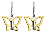 Dew Sterling Gold Butterfly Drop Earrings - Violetmai Jewellery and Gifts