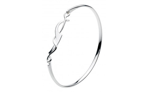 Dew Sterling Silver Art Noveau Bangle - Violetmai Jewellery and Gifts