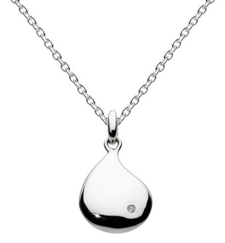 Dew Sterling Silver Peardrop Necklace with CZ - Violetmai Jewellery and Gifts
