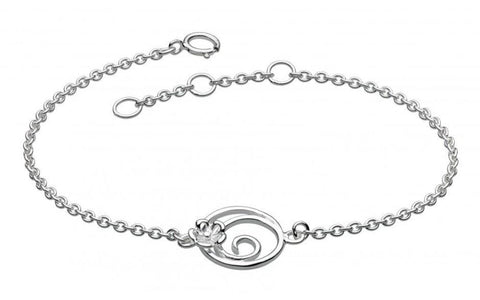 Dew Sterling Silver Round Swirl Blossom Bracelet - Violetmai Jewellery and Gifts