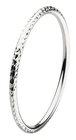 Dew Sterling Silver Diamond Cut Bangle - Violetmai Jewellery and Gifts