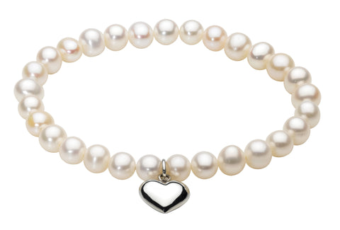 Dew Freshwater Pearl And  Sterling Silver Heart bracelet - Violetmai Jewellery and Gifts