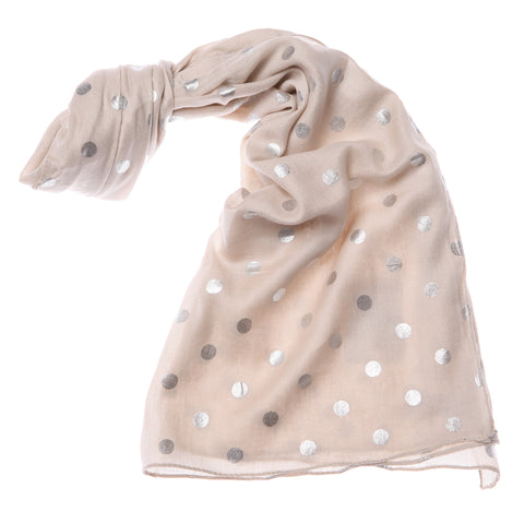 Shruti Metallic Dotty Scarf in Beige