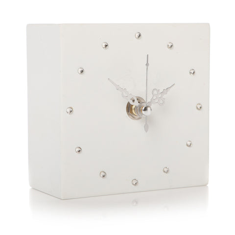 Glamorous White Bling Clock - Violetmai Jewellery and Gifts