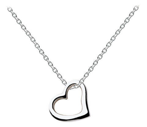 Dew Sterling Silver Classic Sliver Heart Necklace - Violetmai Jewellery and Gifts