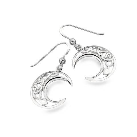 Celtic Lands Silver Simple Moon Earrings - Violetmai Jewellery and Gifts