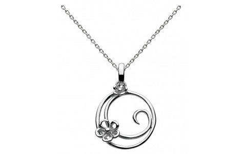 Dew Sterling Silver Round Swirl Blossom Necklace - Violetmai Jewellery and Gifts