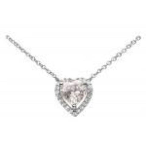Dew Sterling Silver Classic CZ Heart Necklace - Violetmai Jewellery and Gifts
