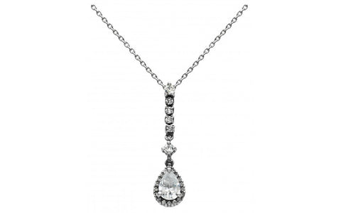 Dew Sterling Silver Teardrop CZ Necklace - Violetmai Jewellery and Gifts