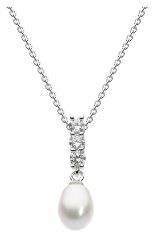 Dew Pearl and CZ Necklace - Violetmai Jewellery and Gifts