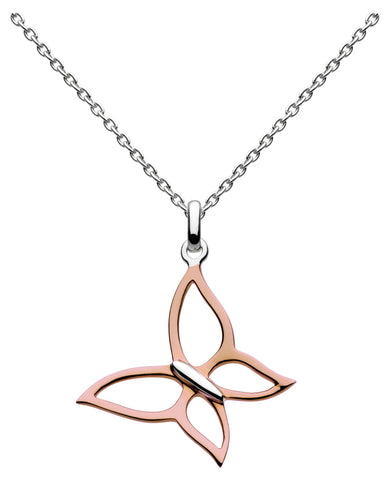 Dew Sterling Silver Small Butterfly Necklace with Rose Gold - Violetmai Jewellery and Gifts