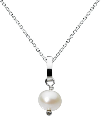 Dew Sterling Silver & Freshwater Button Pearl necklace - Violetmai Jewellery and Gifts