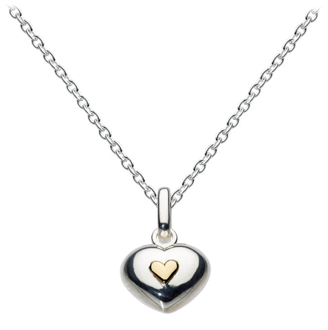 Dew Sterling Silver Puff Gold Heart Pendant - Violetmai Jewellery and Gifts