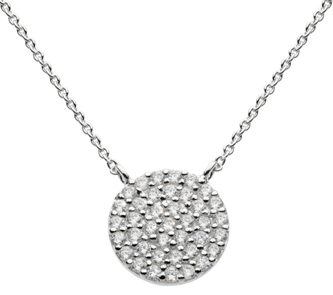 "Dew CZ  Sterling Silver Large Disc Necklace 18"" - Violetmai Jewellery and Gifts"