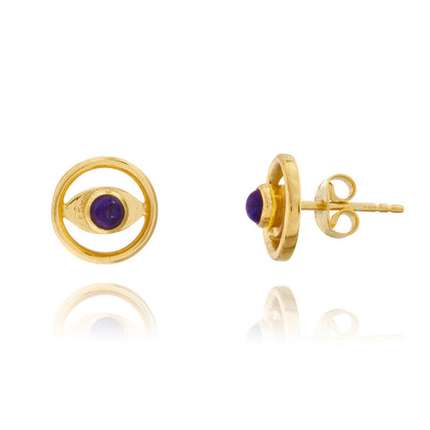 Azuni Amara Lapis Eye Stud Earrings with Lapis - Violetmai Jewellery and Gifts