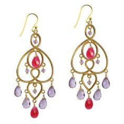 Amelie Earrings, with Ruby And Amethyst - VIOLETMAI - 1