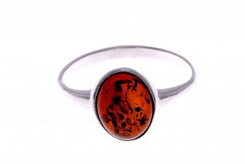 Oval Silver and Amber Ring