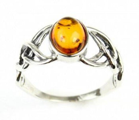 Celtic Knot Honey Amber Silver Ring - Violetmai Jewellery and Gifts