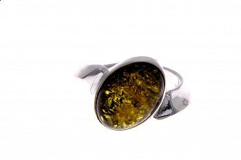 Green Oval Silver and  Amber Ring - Violetmai Jewellery and Gifts