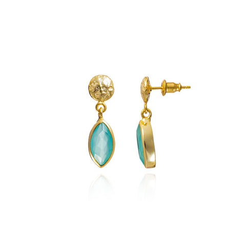 Azuni Aqua Chalcedony Gemstone Drop Earring - Violetmai Jewellery and Gifts