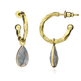 Gold Labradaroite Hoops by Azuni - Violetmai Jewellery and Gifts