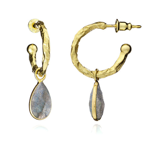 Athena Gold labradaroite hoop Earrings by Azuni - Violetmai Jewellery and Gifts
