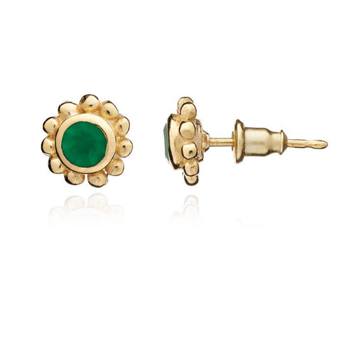 Azuni Stud Earrings: Gold and Green Onyx - Violetmai Jewellery and Gifts