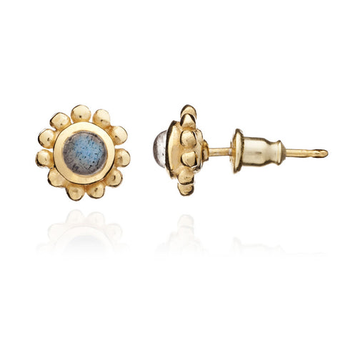 Azuni Athena 'Eclipse' Stud Earrings: Gold and Labradorite - Violetmai Jewellery and Gifts