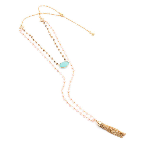 Athena 'Evania' Double Row Gemstone Chain in Pyrite, Pink Chalcedony and Aqua by Azuni - Violetmai Jewellery and Gifts