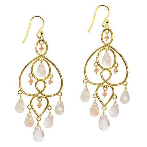 Amelie  Earrings, with Apricot Moonstone And Moonstone - Violetmai Jewellery and Gifts