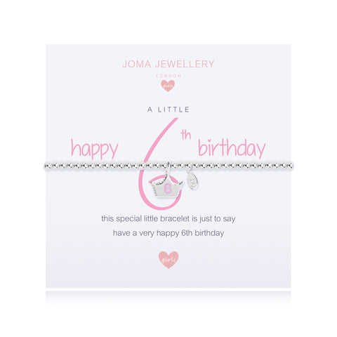 Joma Girls A Little Happy 6th  Birthday Bracelet - Violetmai Jewellery and Gifts