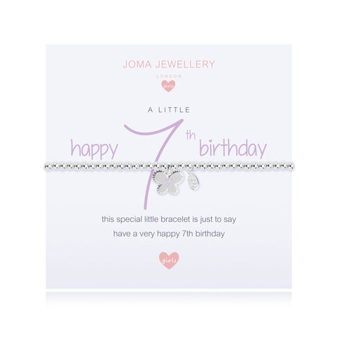 Joma Girls A Little Happy 7th  Birthday Bracelet - Violetmai Jewellery and Gifts