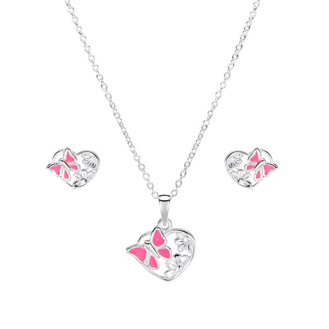 Jo for Girls Sterling Silver and Enamel Pink Butterfly Heart Pendant on Chain of 35.5cm - Violetmai Jewellery and Gifts