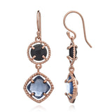 Delphi Gemstone Earrings in Rose Gold, Black Onyx and Iolite by Azuni - Violetmai Jewellery and Gifts