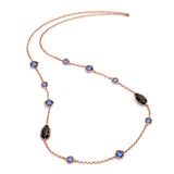 Delphi Gemstone Necklace in Rose Gold, Black Onyx and Iolite by Azuni - Violetmai Jewellery and Gifts