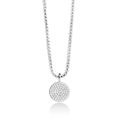 Forever JOMA  Fine Pave Disc Necklace - Violetmai Jewellery and Gifts