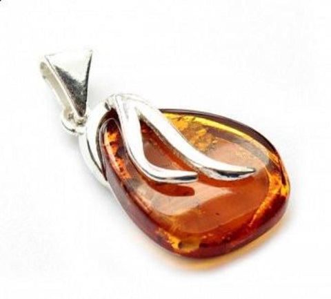 Amber Long Teardrop Pendant - Violetmai Jewellery and Gifts