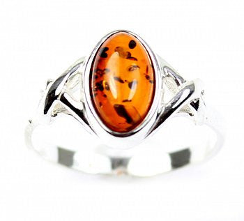 Celtic Oval Amber Ring - Violetmai Jewellery and Gifts