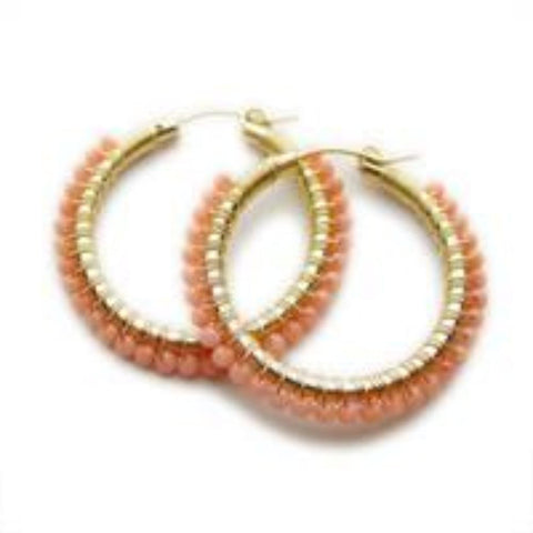 Viv And Ingrid Peach Coral Hoops - VIOLETMAI