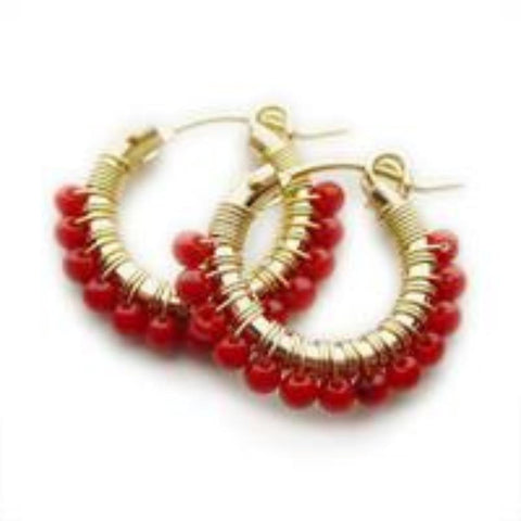 Viv And Ingrid Red Coral Hoops - VIOLETMAI
