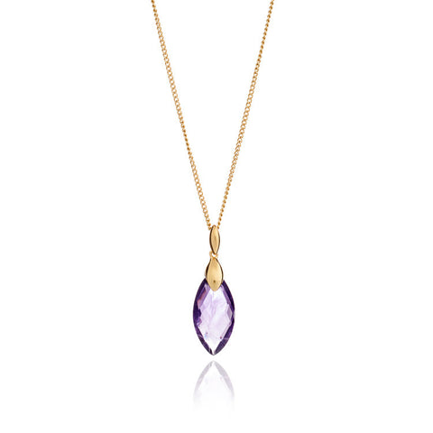 Hera Gemstone Pendant in Gold Amethyst by Azuni - Violetmai Jewellery and Gifts
