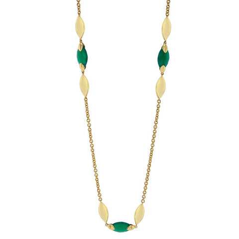 Hera Semi-Precious Stone Necklace in Green Onyx by Azuni - Violetmai Jewellery and Gifts